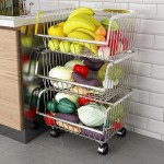 Stainless steel multiple tiers vegetable and fruit basket