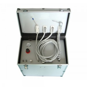 Dental Portable Turbine Unit W/ 3-Way Syringe+Suction+Air Compressor+HP Tube 2/4H